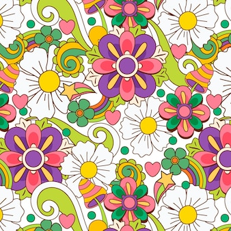 Hand drawn psychedelic floral pattern