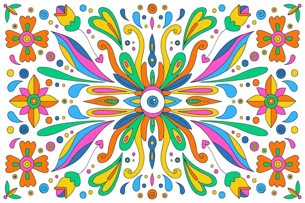 Hand drawn psychedelic groovy background