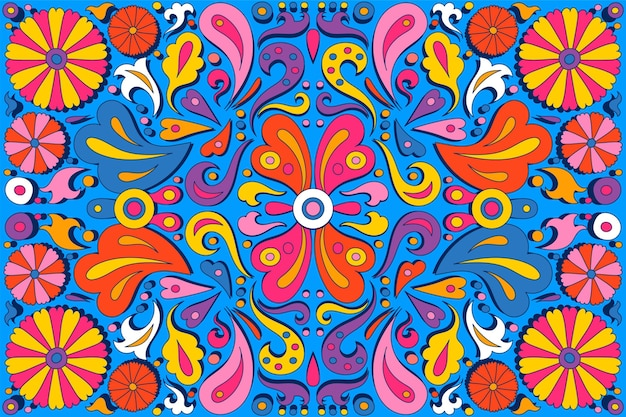 Hand-drawn psychedelic groovy background