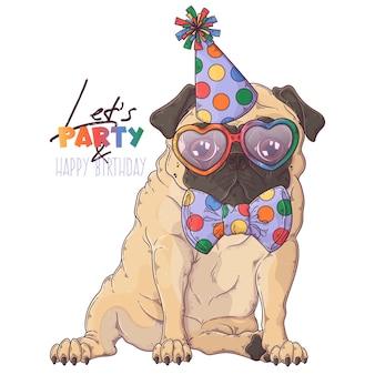 Нарисованный рукой портрет клоуна собаки мопса с аксессуарами