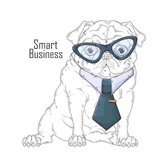 Рука нарисованные мопса в галстуке