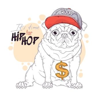 Нарисованный рукой рэпер собаки мопса с аксессуарами