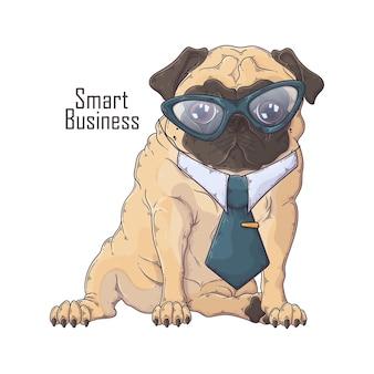 Hand drawn pug dog in tie