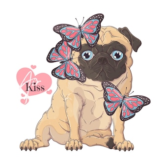 Hand drawn pug dog with butterfly