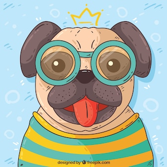 Hand drawn pug with glasses