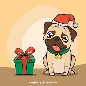 Hand drawn pug with santa hat