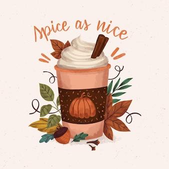Hand drawn pumpkin spice illustration