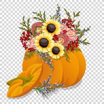 手で描かれたカボチャと花。秋のデザイン