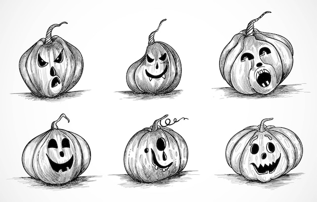 Hand drawn pumpkins funny sketch set design