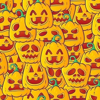 hand-drawn pumpkins seamless pattern