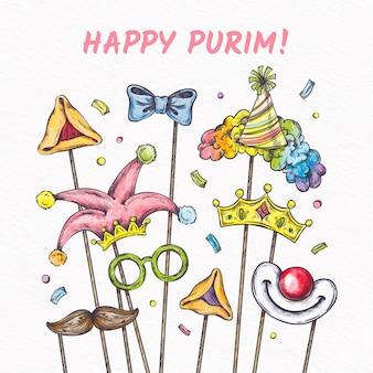 Hand drawn purim day with masks on sticks