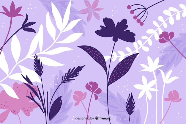 Hand drawn purple abstract floral background