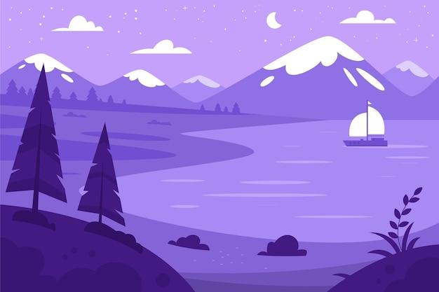 手描きの紫色の風景