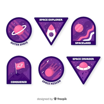 Hand drawn purple space stickers collection
