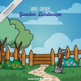 Disegnato a mano paesaggio tranquillo giardino