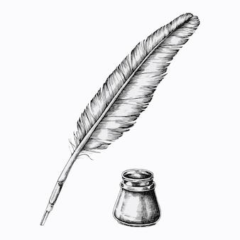잉크병이 있는 손으로 그린 퀼 펜