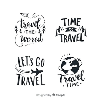 Hand drawn quote badges lettering style