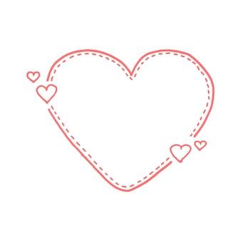 Ручной обращается цитата пунктирная линия коробки. стиль каракули. милый прекрасный фон для вашего любовного текста. векторная иллюстрация