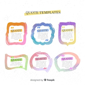 Hand drawn quote template collection
