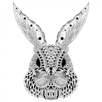 Hand drawn of rabbit head in zentangle style