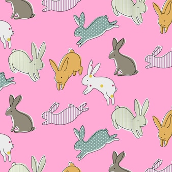 Hand drawn rabbit pattern