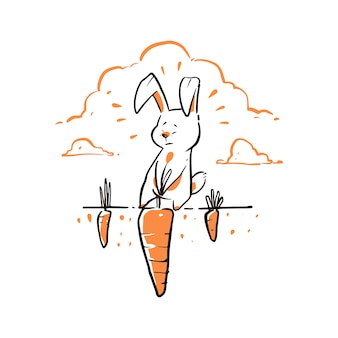 Hand drawn rabbit pulling big carrot