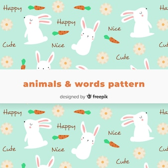 Hand drawn rabbit and words pattern