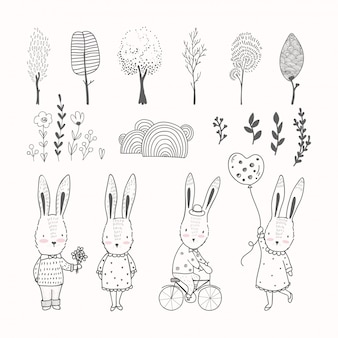 Hand drawn rabbits and doodle elements collection