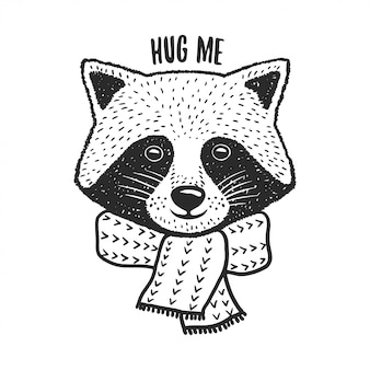 Hand drawn raccoon print. hug me quote. vector vintage illustration.