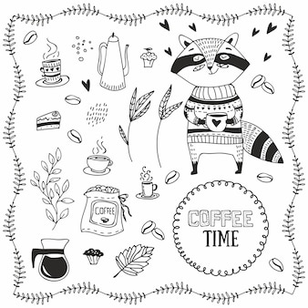 HAND DRAWN RACCOON WITH COFFEE. DOODLE COFFEE ELEMENTS