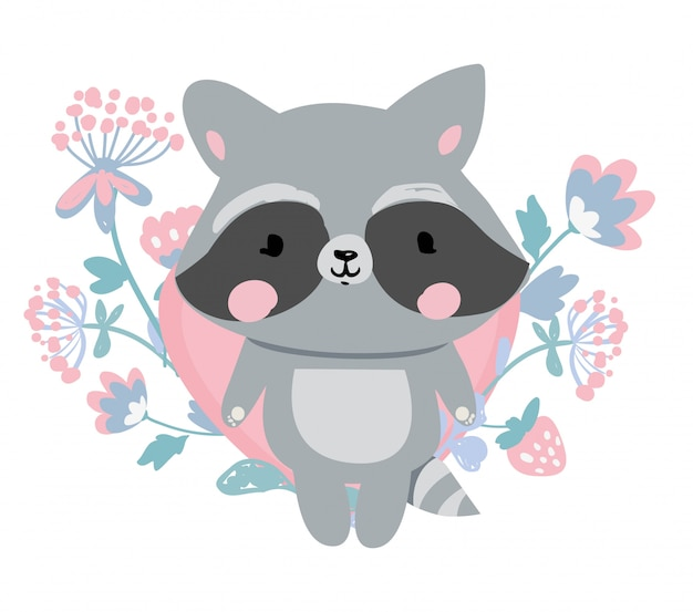 Hand drawn raccoon with flowers illustration