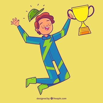 Hand drawn racing driver winning a prize