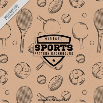 Hand drawn rackets and balls pattern