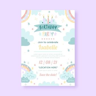 Modello di invito di compleanno arcobaleno disegnato a mano