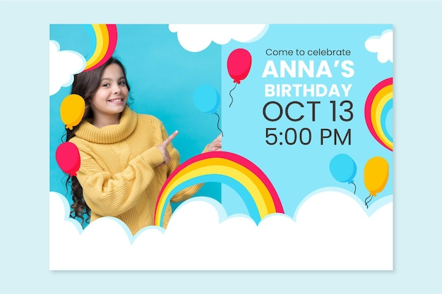 Hand drawn rainbow birthday invitation with photo template