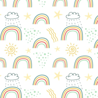 Hand drawn rainbow and clouds pattern
