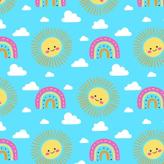 Hand drawn rainbow, clouds and sun pattern