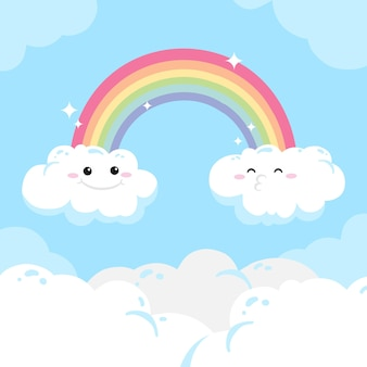 Hand drawn rainbow and clouds with faces