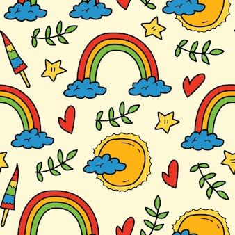 Hand drawn rainbow doodle cartoon seamless pattern design