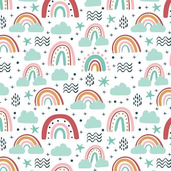 손으로 그린 무지개 패턴 디자인