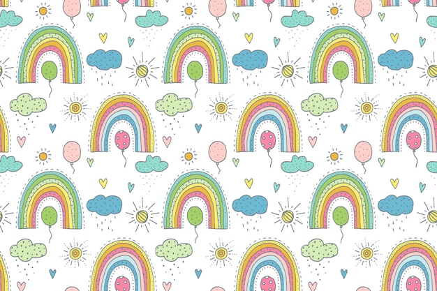 手描きの虹のパターンデザイン
