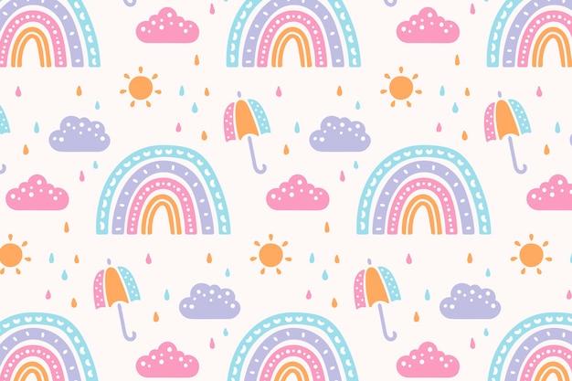 Hand drawn rainbow pattern design