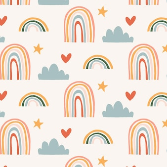 Hand drawn rainbow pattern with heart shapes