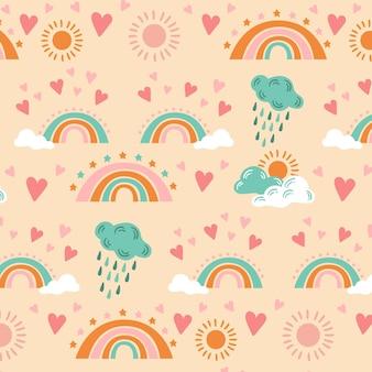 手描きの虹のパターン