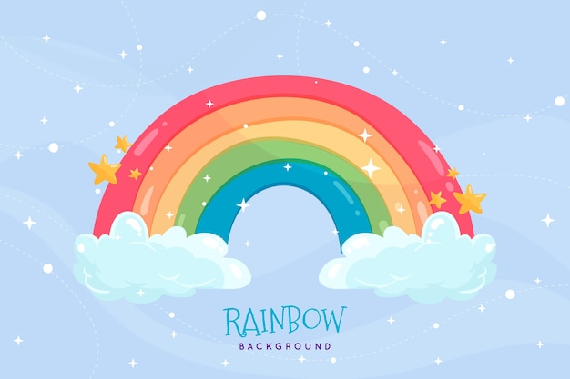 Рисованная радуга с облаками