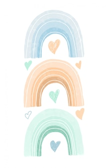 Hand drawn rainbows and hearts in pastel colors, nursery poster design