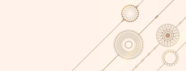 Hand drawn rakhi line style design banner with text space