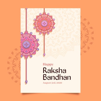 Hand drawn raksha bandhan greeting card
