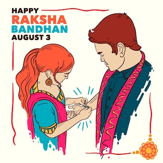 Hand drawn raksha bandhan