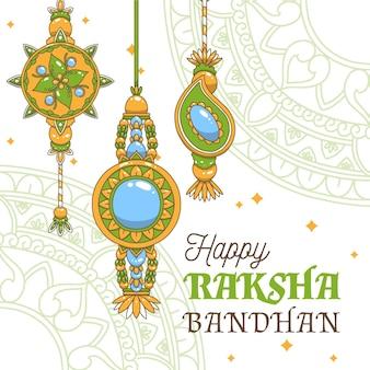 손으로 그린 raksha bandhan